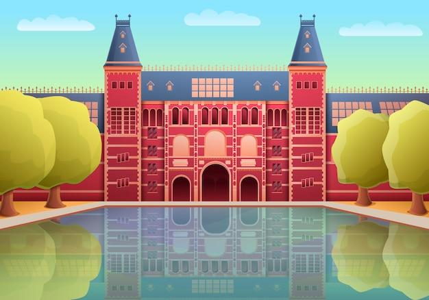 アムステルダム、イラストの漫画のアムステルダム国立美術館のランドマーク