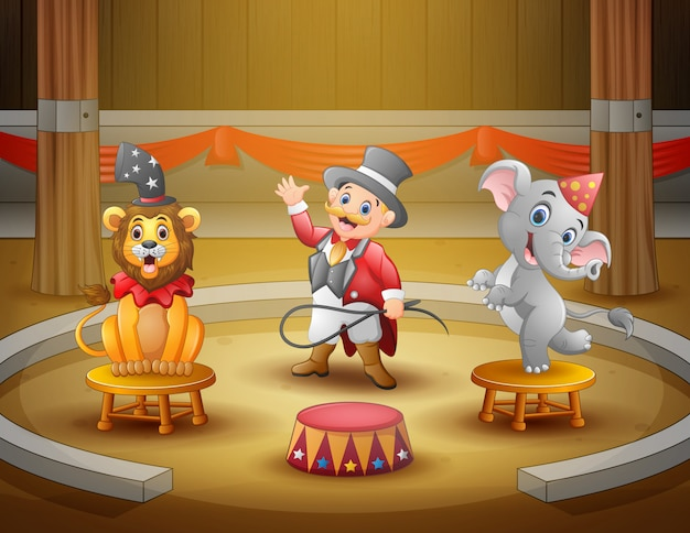 Cartoon ringmaster perform with animals on the arena
