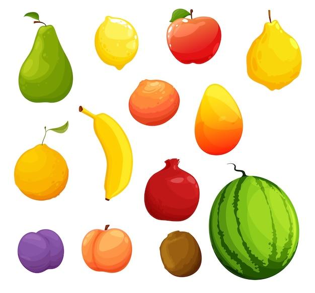 만화 익은 과일, 유기농 농장 신선한 수확. 벡터 생 배, 레몬, 사과, 잘 익은 마르멜로, 오렌지와 망고, 자몽, 바나나와 가넷, 깃털, 복숭아 또는 천도 복숭아, 키위, 수박