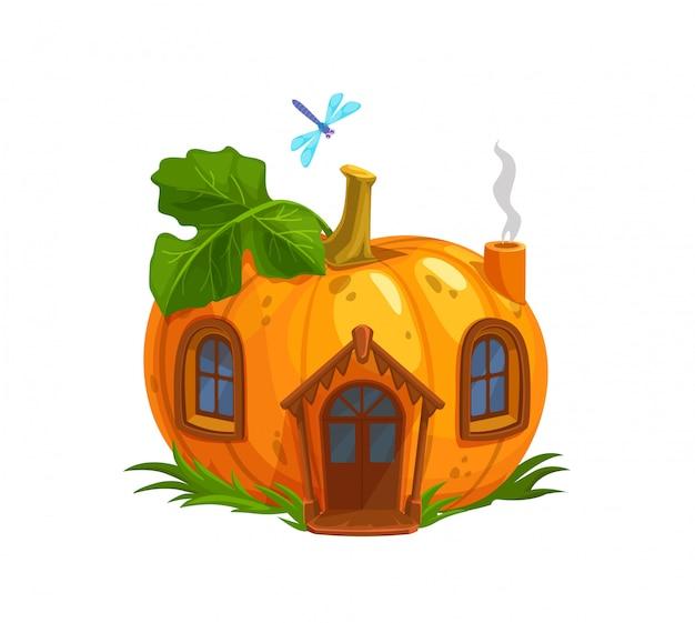 Cartoon ripe pumpkin gnome or elf house
