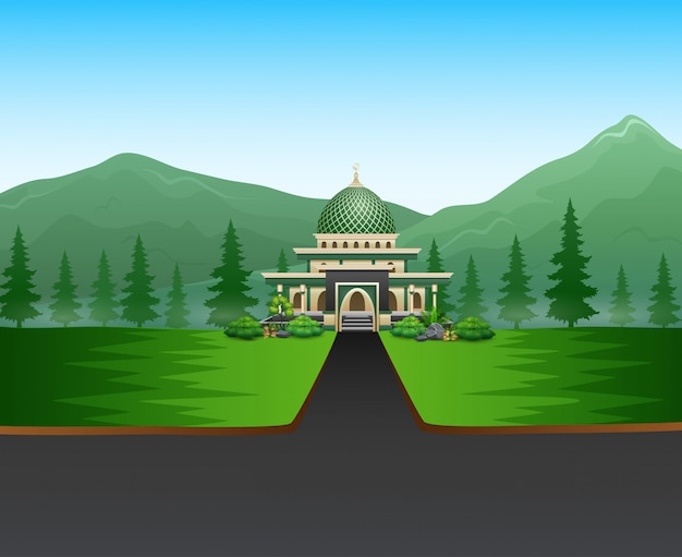 Cartoon road to the mosque with a beautiful landscape