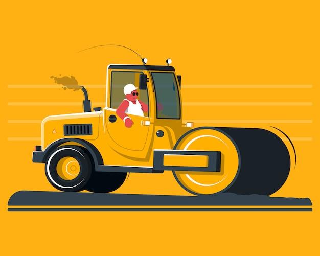 Cartoon road roller