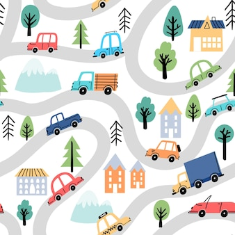 Cartoon roads and cars, city map kid seamless pattern. wallpaper with street, trees, houses and trucks. travel doodle for rug vector texture. town with paths and driving vehicles and planys