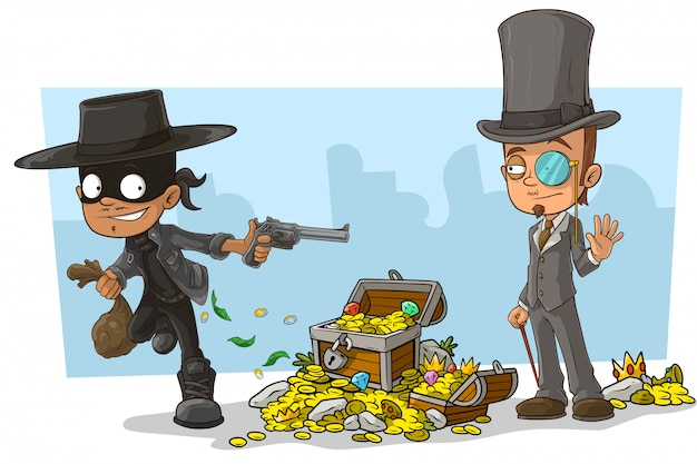 Cartoon robber in mask and intelligent
