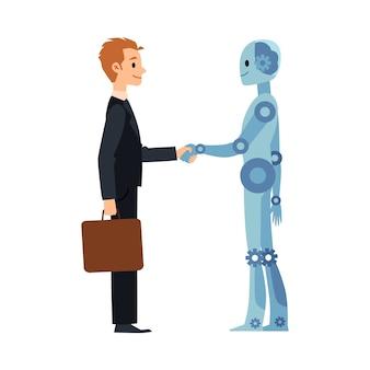 漫画のロボットとビジネスの男の握手-ビジネスマンとアンドロイドサイボーグの笑顔と握手。白い背景のイラスト。