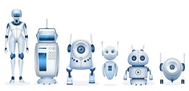 漫画のロボット。未来のドロイドと人工知能技術を備えた機械。リアルな子供のおもちゃのロボットとアンドロイドのベクトルセット。未来的なロボットのイラスト、漫画アンドロイド機械