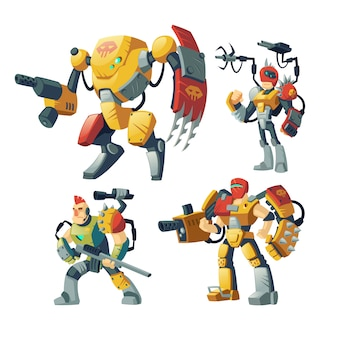 Guardie di robot dei cartoni animati, umani in armatura esoscheletrica