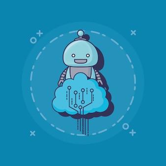 漫画ロボットアイコン Premiumベクター