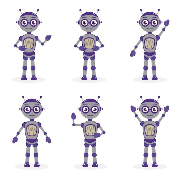 평면 스타일에서 개체의 만화 로봇 마스코트 세트. 로봇 캐릭터 컬렉션. 흰 배경에 고립. 삽화.