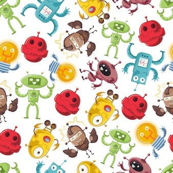 Cartoon robot vector seamless pattern for wallpaper, wrapping