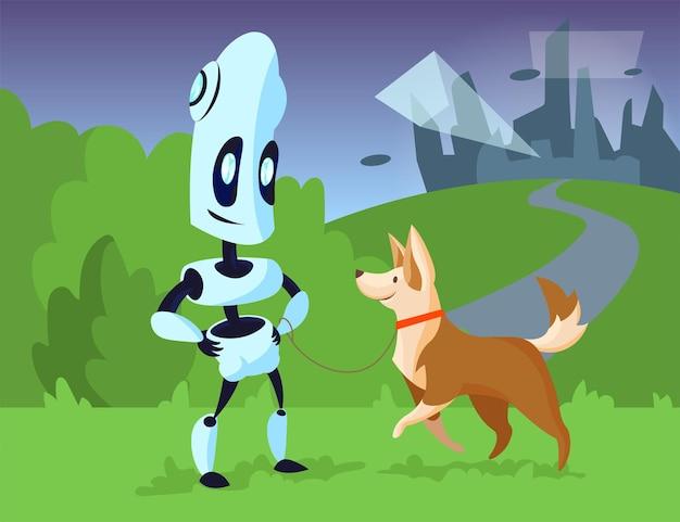 Cartoon robot walking dog in park illustration