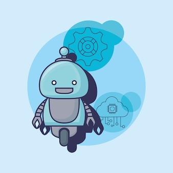 Мультфильм робот с искусственным интеллектом