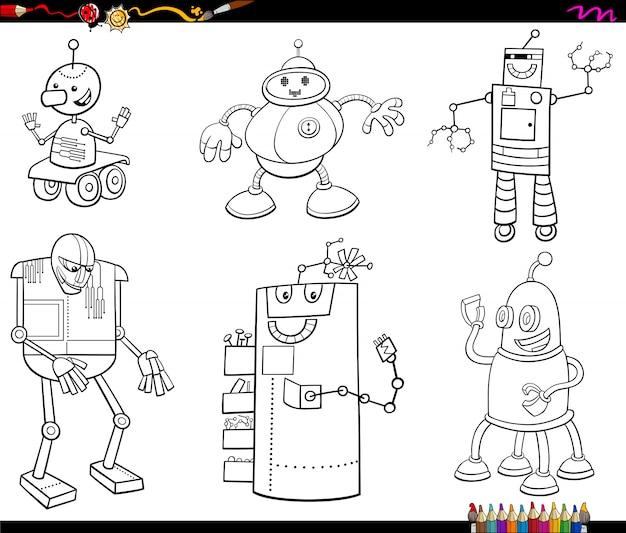 Cartoon robots characters color book
