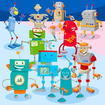Cartoon robots or droids characters large group