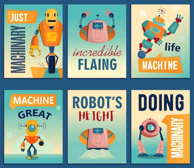 Cartoon robots flyers set. machines, cyborgs, electronic assistants flyer template