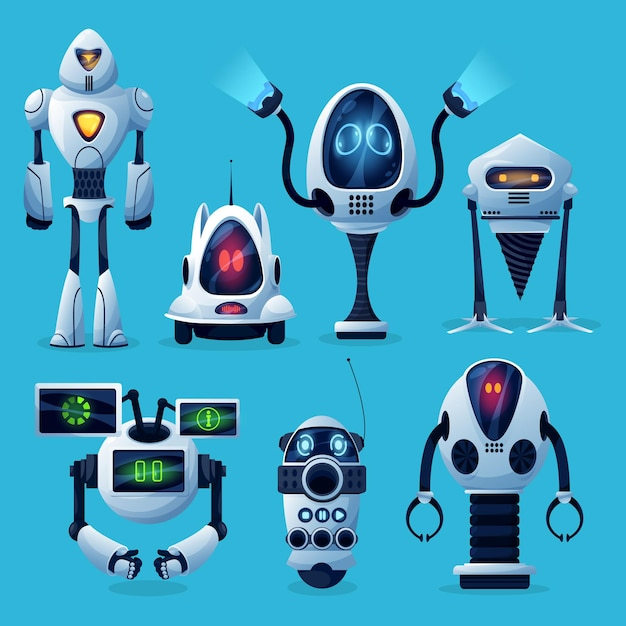 Cartoon robots icons, artificial intelligence cyborg characters, cute toys or bots futuristic technology. friendly robots on wheels and legs with long arms and digital face screens isolated set