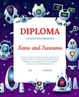 Cartoon robots, kids education diploma or achievement