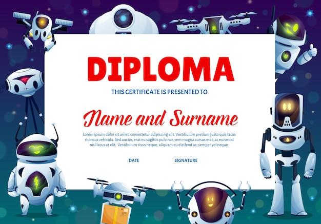 Cartoon robots kids education diploma, certificate
