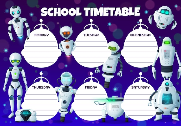 만화 로봇 아이 교육 시간표 일정. 인공 지능 로봇, android 봇 및 휴머노이드 드로이드가 포함 된 학교 학생 시간표, 학습 계획 또는 주간 플래너 차트 템플릿