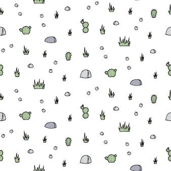 Мультфильм рок, цветы бесшовные модели вектор. рисованной иллюстрации растений и камня