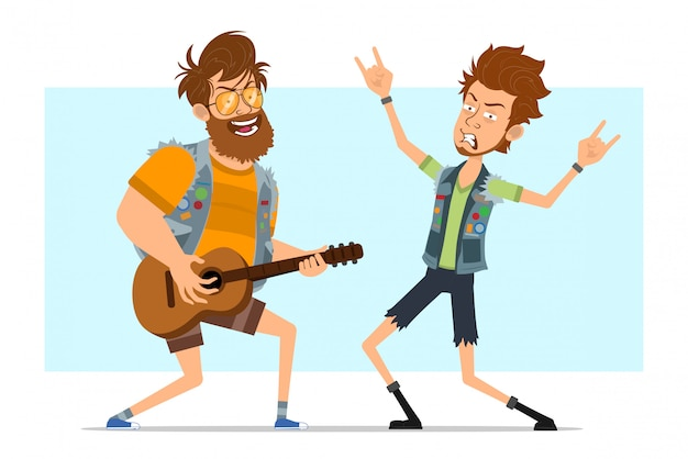 Cartoon rock and roll boys character vector set