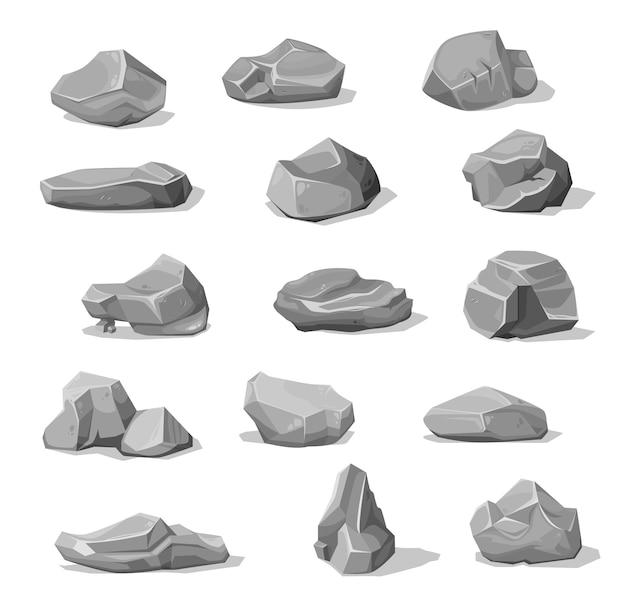 漫画の岩石と岩、灰色の瓦礫の砂利と石畳の山、ベクトル。灰色の岩石または破片、コンクリートまたは花崗岩の岩のブロックの砂利、漫画の灰色の小石ゲーム資産