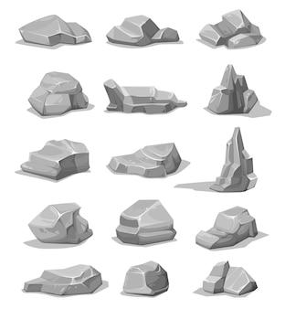 Cartoon rock stones and boulders. grey rubble stones set