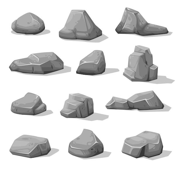 Cartoon rock stones and boulders, grey rubble