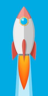 Мультяшная ракета в небе. взлет космического корабля. концепция запуска бизнеса. векторная иллюстрация в плоском стиле