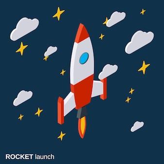 Cartoon rocket launch, project startup