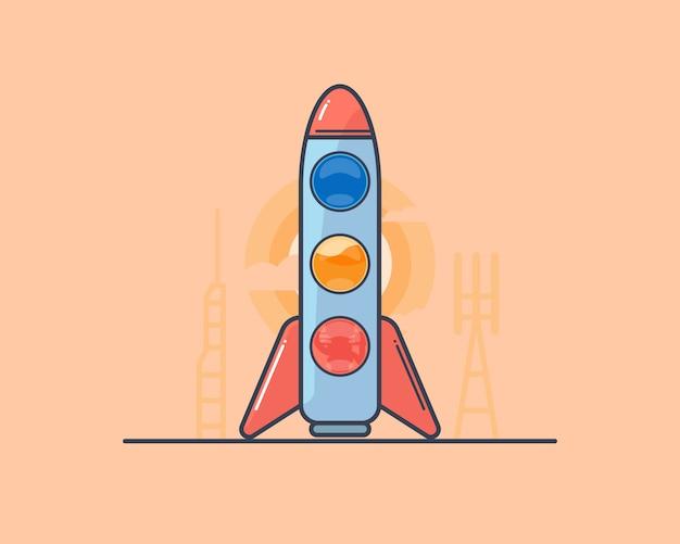 Cartoon rocket. outline style.