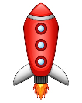 Cartoon rocket spaceship isolated on white background