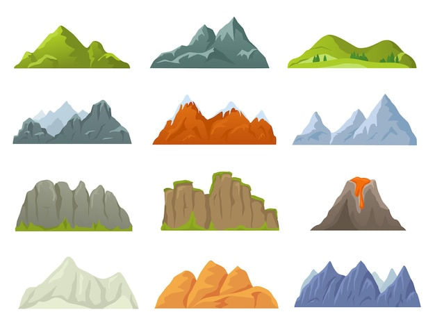 Cartoon rocky mountain top, snowy peak, stone cliff. mountains ridges in various shapes, volcano, canyon, nature landscape element vector set. hiking or climbing concept, having extreme expedition