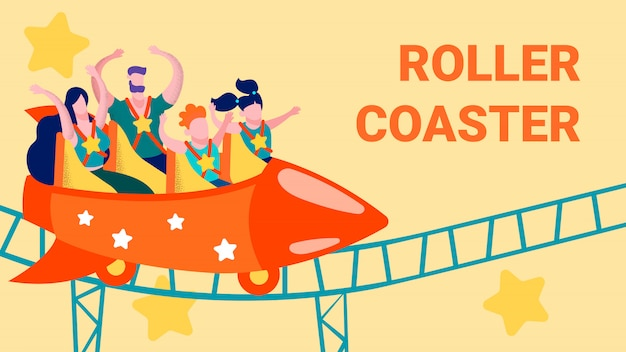 Cartoon rollercoaster in amusement park flat card