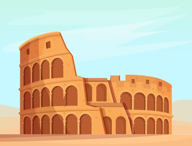 Cartoon roman colosseum.