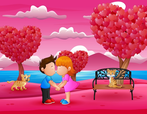 Cartoon romantic couple kissing in a beautiful pink garden