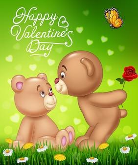 Мультфильм романтичной пары плюшевого мишку