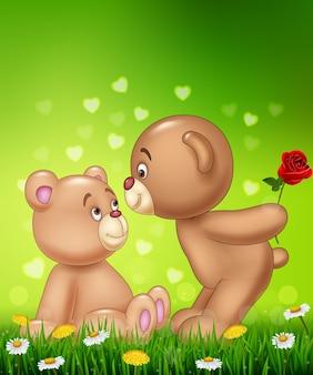 Cartoon romantic couple of teddy bear