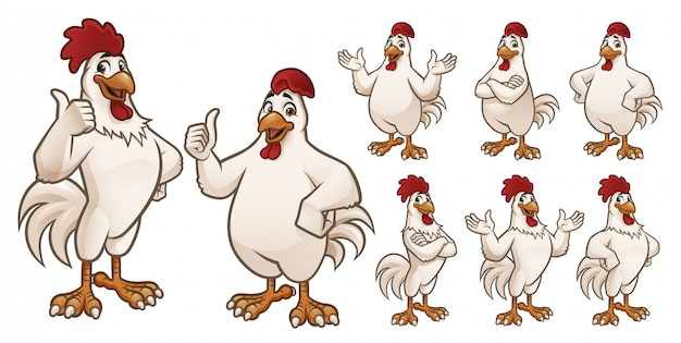 Cartoon rooster and chicken collection