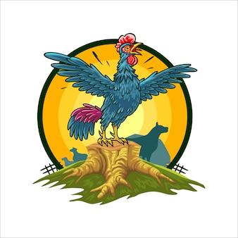 Cartoon rooster green farm