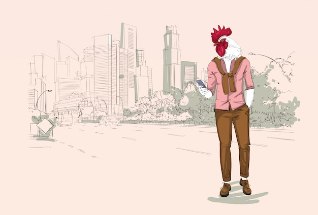 Cartoon rooster hipster
