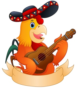 Cartoon rooster playing guitar