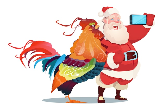 Cartoon rooster and santa clause making selfie