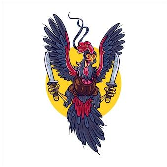 Cartoon rooster warion