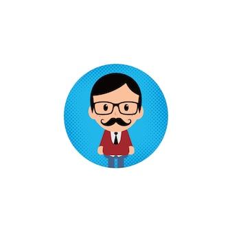 Cartoon round avatar picture vector art illustration