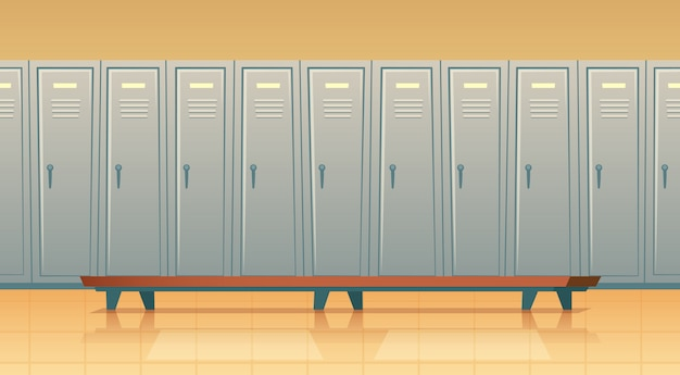 Cartoon row of individual lockers or changing room for football, basketball team or workers.
