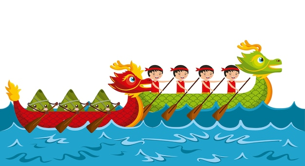 Cartoon rowing team chinese rice dumpling festival