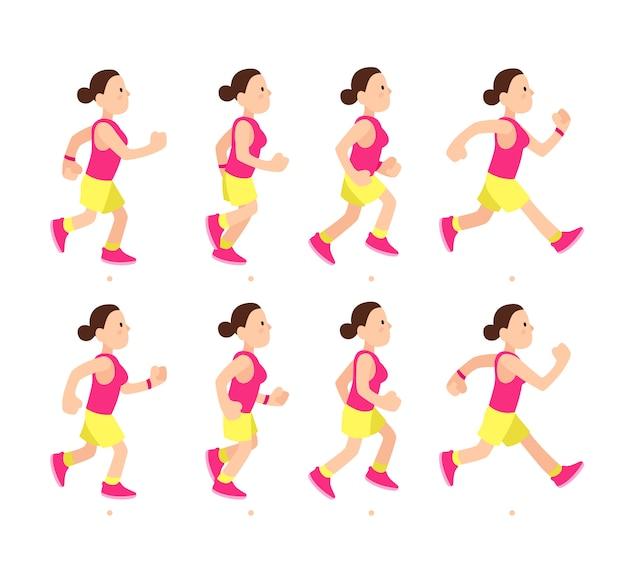 Cartoon running girl animation