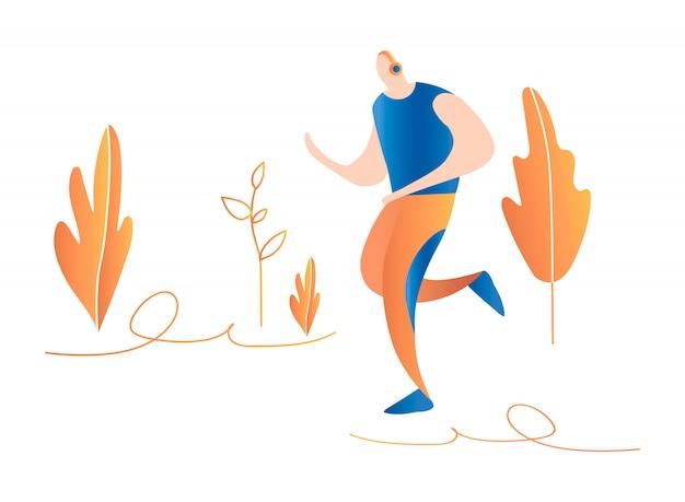 Cartoon running men. running in nature. minimal flat illustration
