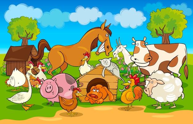 Мультяшная сельская сцена с животными